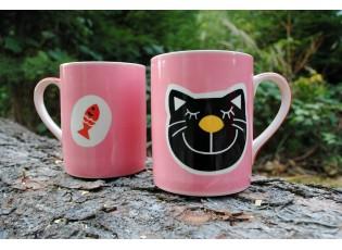 Růžový hrneček kočka-ryba 0,6l