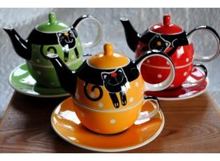 Barevná sada Tea for one - žlutý, červený, zelený