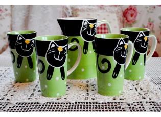 Zelená sada džbán + 4 hrnečky 0.47L veselá kočka