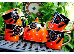 Sada oranžová konvice + 4 hrnečky 0.42L veselá kočka