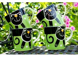 Sada 4 zelené hrnečky 0.42L veselá kočka