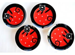 Sada 4x červený mělký talíř veselá kočka