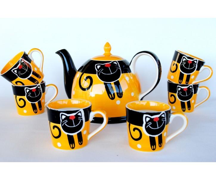 Žlutá sada konvice + 6 hrnečků 0.2L veselá kočka