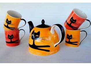 Sada žluto-oranžová konvice + 2 žluté + 2 červené hrnečky 0,4l ležící kočka