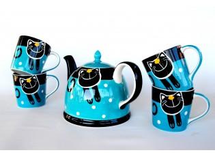 Sada modrá konvice + 4 hrnečky 0.42L veselá kočka