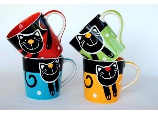 Sada 4 ks hrnečky 0.42L veselá kočka - vlastní výběr barvy