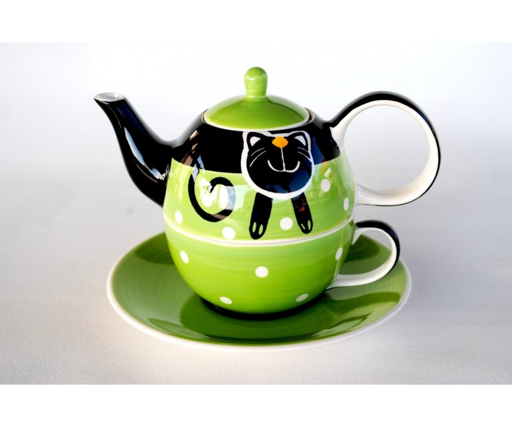 Zelená konvička, šálek, podšálek veselá kočka