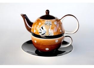 Konvička, šálek, podšálek sedící kočka