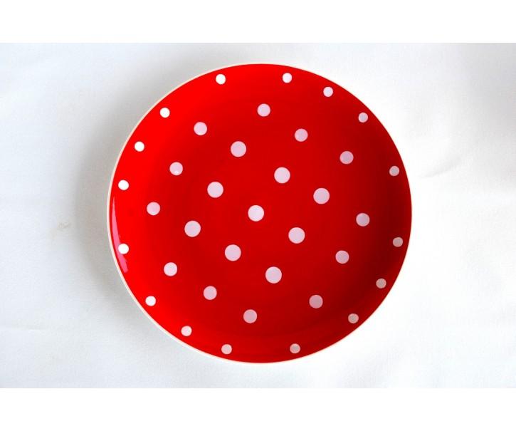 Červený mělký talíř malý puntík
