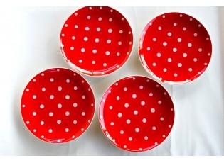 Sada 4x červený mělký talíř malý puntík