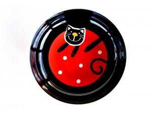 Červený hluboký talíř veselá kočka