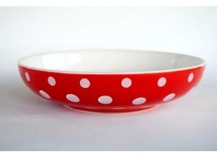 Červený hluboký talíř malý puntík