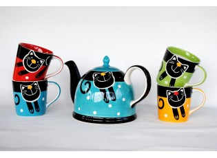 Sada modrá konvice + 4 hrnečky 0,42l mix barev veselá kočka