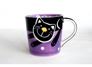Fialový hrnek veselá kočka 0.42L