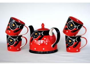 Sada červená  konvice + 4 červené hrnečky 0.4L veselá kočka
