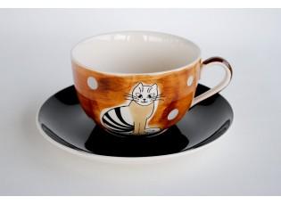 Hnědý hrnek sedící kočka 0.5L s podšálkem