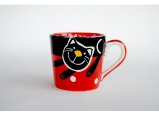 Červený hrnek veselá kočka 0.2L