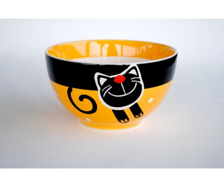 Žlutá miska veselá kočka 13,5 x 7,5cm