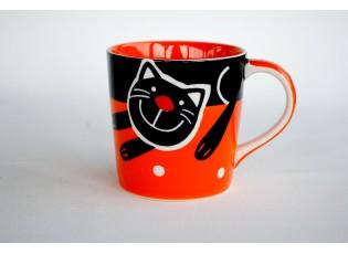 Oranžový hrnek veselá kočka 0.4L