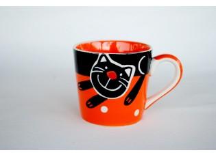 Oranžový hrnek veselá kočka 0.2L