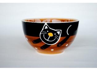 Hnědá miska veselá kočka