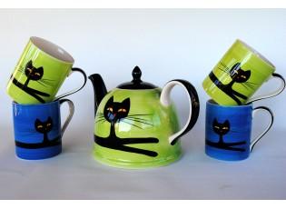 Sada zelená konvice + 2 modré + 2 zelené hrnečky 0,4l mix barev ležící kočka