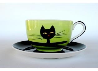 Zelený hrnek ležící kočka 0.5L s podšálkem