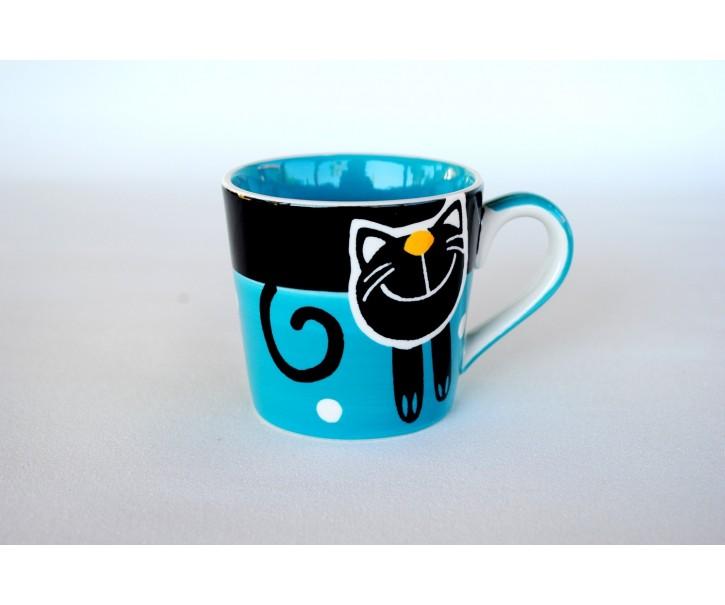 Modrý hrnek veselá kočka 0.2L