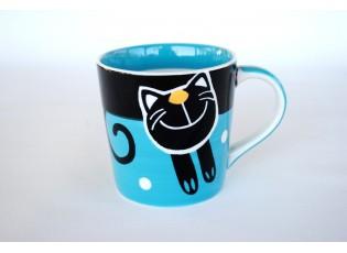 Modrý hrnek veselá kočka 0.42L rozšířený