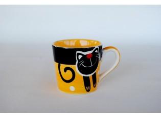 Žlutý hrnek veselá kočka 0.2L