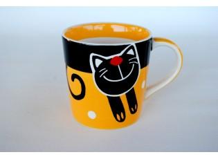Žlutý hrnek veselá kočka 0.42L rozšířený