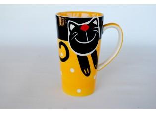 Žlutý hrnek veselá kočka 0.47L vysoký