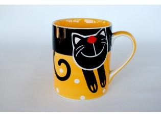Žlutý hrnek veselá kočka 0.6L