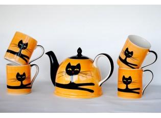 Žluto-oranžová sada konvice + 4 hrnečky 0.4L ležící kočka