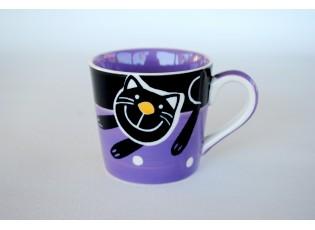 Fialový hrnek veselá kočka 0.2L