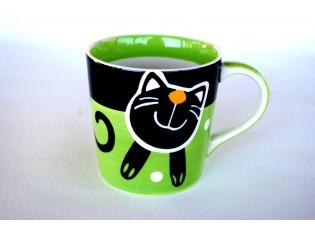 Zelený hrnek veselá kočka 0.42L rozšířený