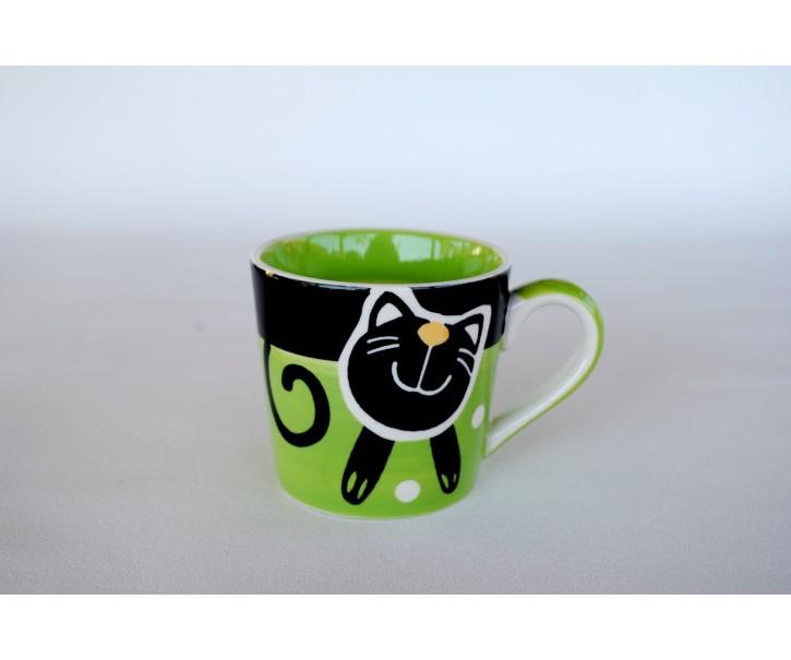 Zelený hrnek veselá kočka 0.2L