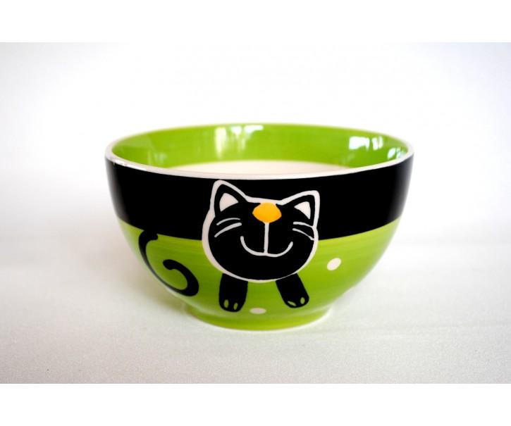 Zelená miska veselá kočka 13,5 x 7,5cm