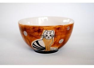 Hnědá miska sedící kočka 13,5 x 7,5cm