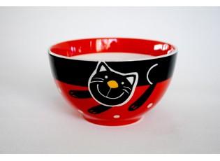 Červená miska veselá kočka
