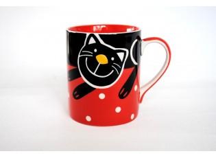 Červený hrnek veselá kočka 0.6L