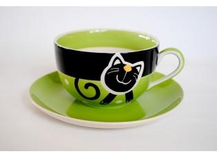 Zelený hrnek veselá kočka 0.5L s podšálkem