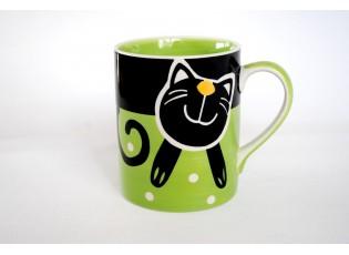 Zelený hrnek veselá kočka 0.6L