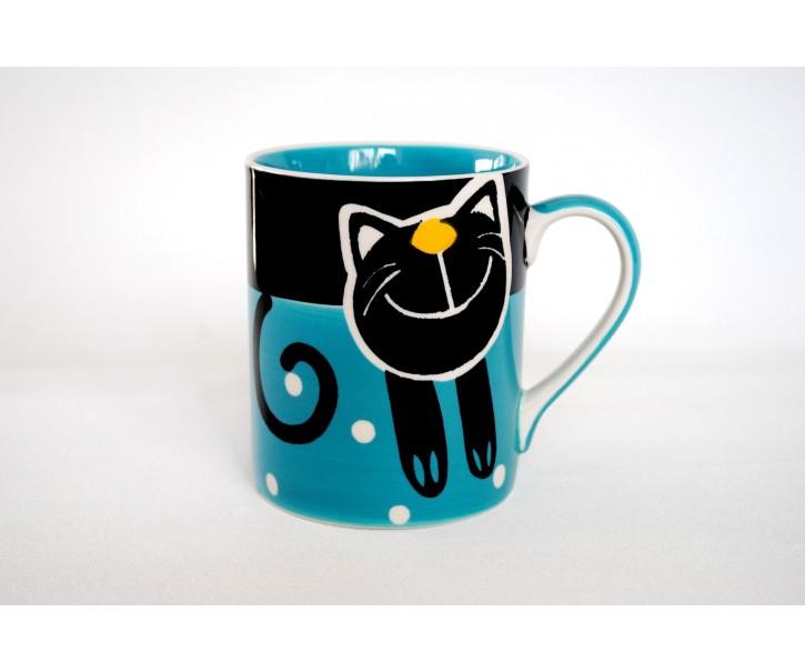 Modrý hrnek veselá kočka 0.6L