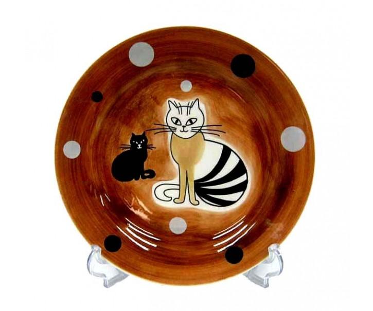 Talíř dezertní hnědá sedící kočka 20cm