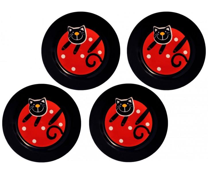 Sada 4x dezertní talíř červená veselá kočka 20cm