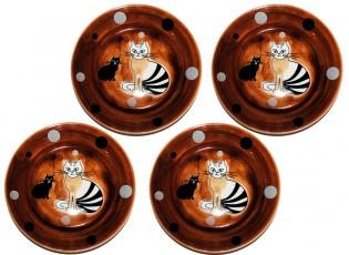 Sada 4x dezertní talíř hnědá sedící kočka 20cm