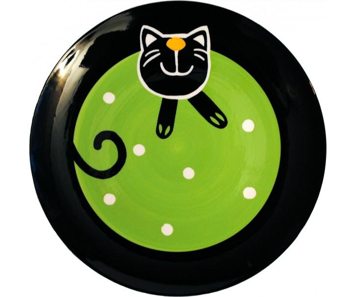 Mělký talíř zelená veselá kočka