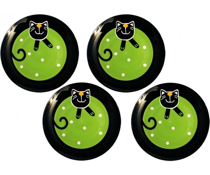 Sada 4x mělký talíř zelená veselá kočka
