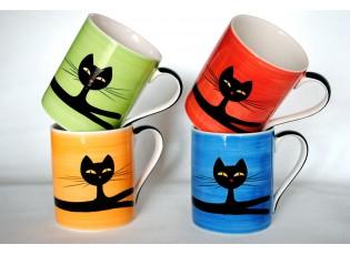 Sada 4 hrnečky 0.4L ležící kočka mix barev